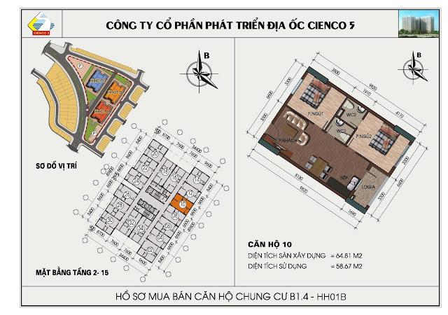 sơ đồ căn hộ chung cư B1.4 căn 10 tòa HH01B