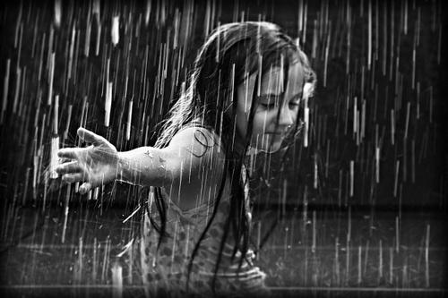 cute girl on rain black and white profile dp