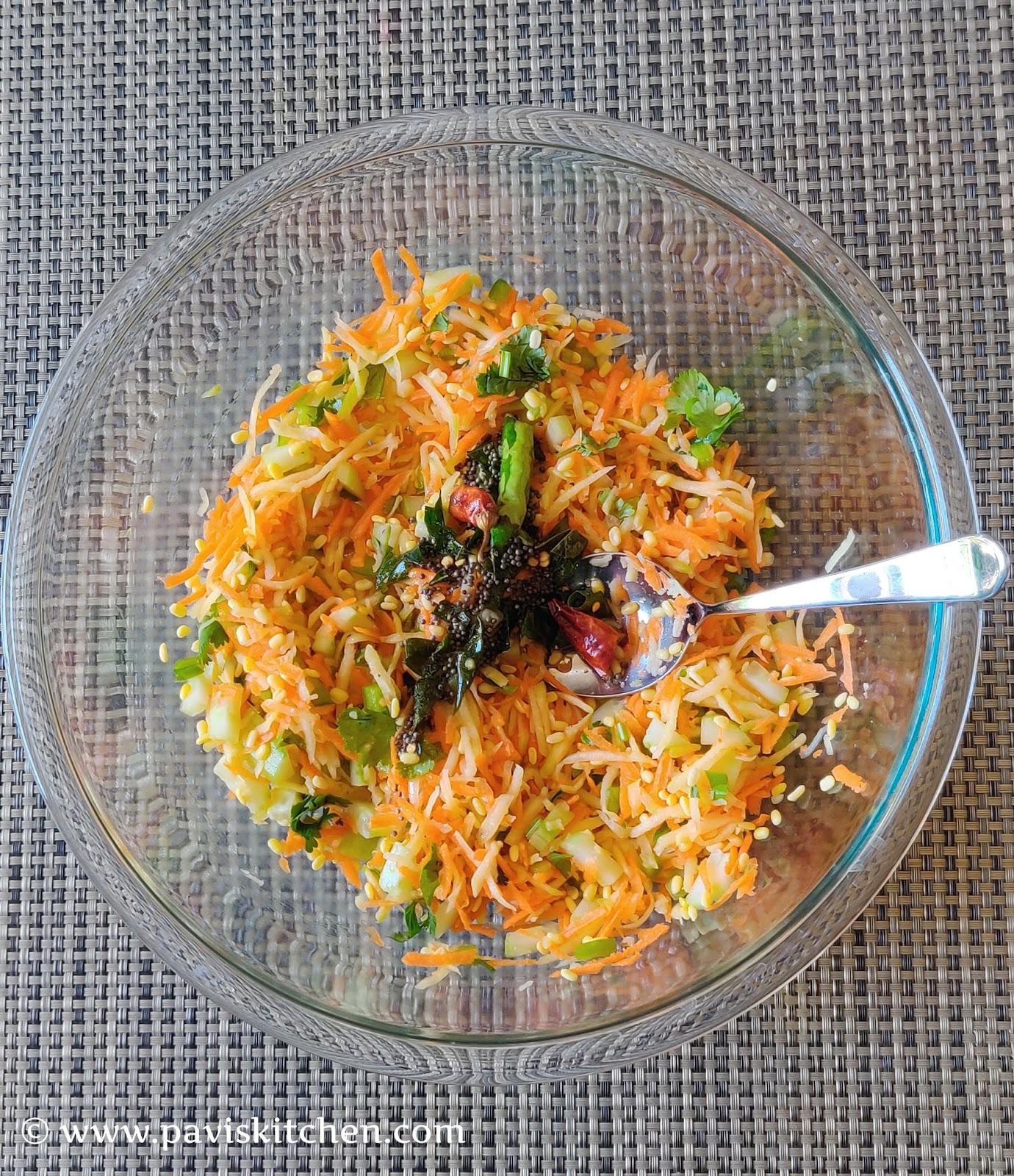 Moong Dal Kosambari | Pasi Paruppu Kosumalli | Moong Dal Vegetable Salad