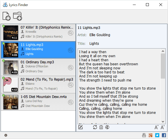Screenshot MediaHuman Lyrics Finder 1.4.5