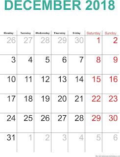 Free Printable Calendar December 2018