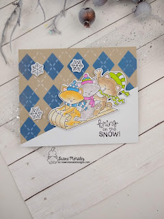 Snow Day Fun a card by Diane Morales | Newton's Toboggan  Stamp Set by Newton's Nook Designss