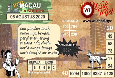 Prediksi Wak Togel Toto Macau Kamis 06 Agustus 2020