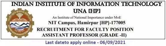 IIIT Una Faculty Vacancy Recruitment 2021