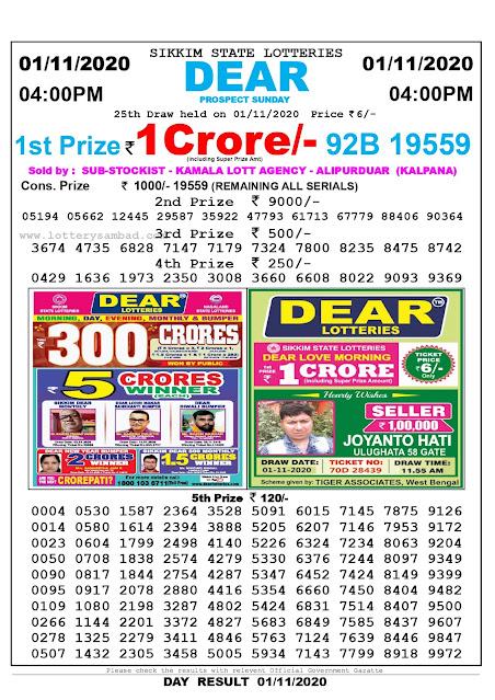 Lottery Sambad 01-11-2020, Lottery Sambad 4 pm results, Sikkim Lottery Results, Lottery Sambad Today Results Live, Day results