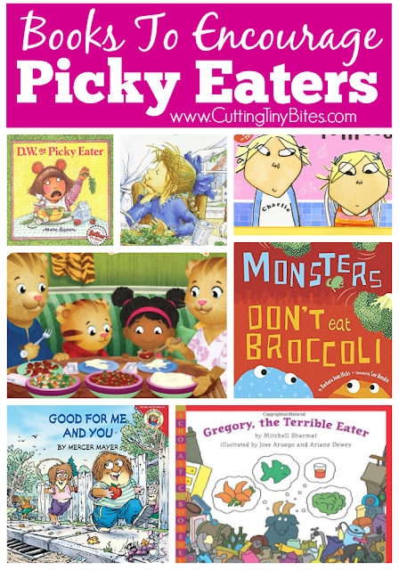 Children's book review list of books to encourage picky eaters.  A story about a favorite character may be just the thing to get your picky eater to try new foods!  Choices for toddlers and preschoolers.