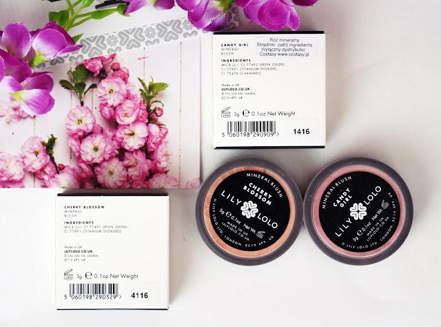 Lily Lolo, Mineralny róż do policzków w odcieniach Cherry Blossom oraz Candy Girl + swatche wszystkich kolorów