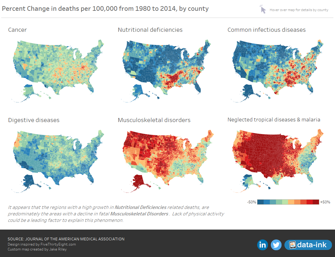 Percent Change in deaths per 100,000, by county.