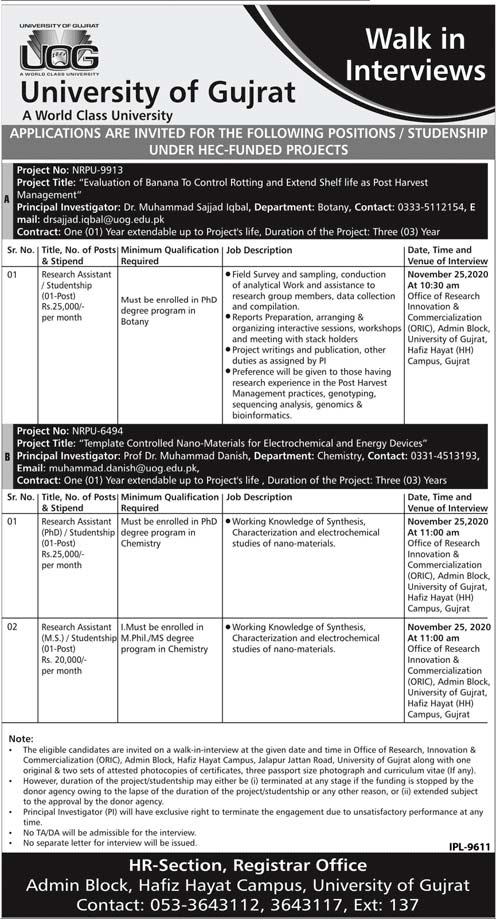 University of Gujrat UOG Jobs 2020, Research Assistant Required