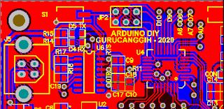 Contoh PCB Arduino Uno DIY (2D View)