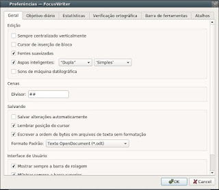 FocusWriter digite texto