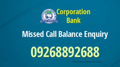 Corporation Bank Balance Check by Missed call
