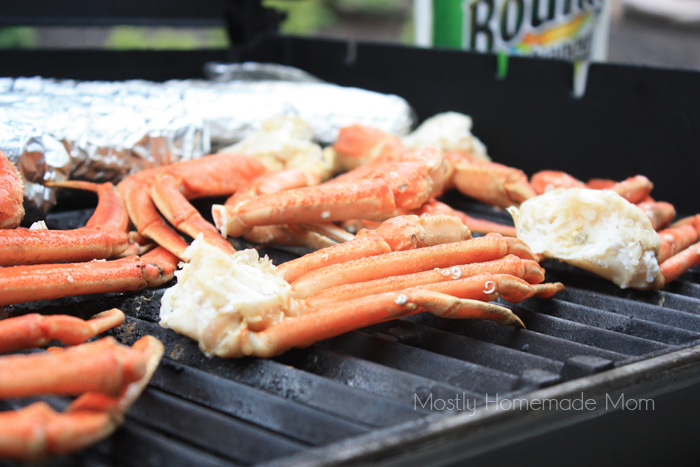 Grilled Crab legs with grilled corn on BBQ