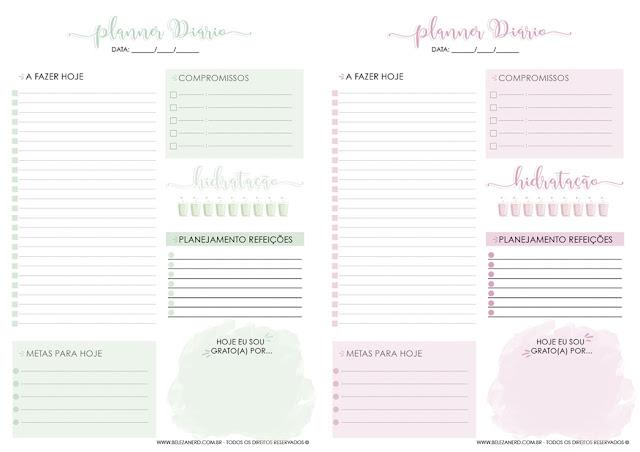 segundo modelo de planner nas cores: verde e rosa