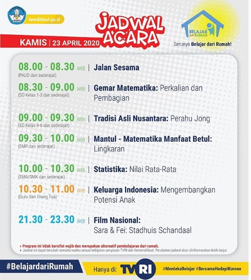 Jadwal Acara Belajar dari Rumah di TVRI Hari Kamis 23 April 2020