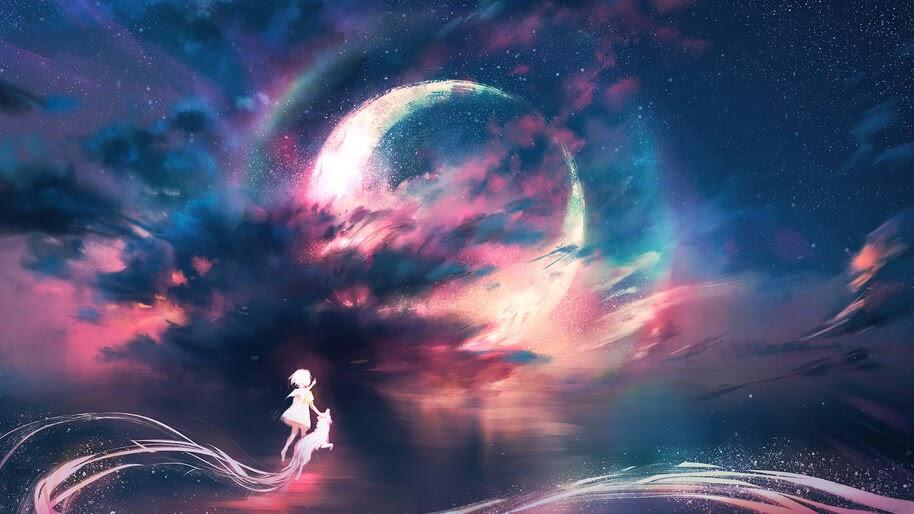 Anime, Art, Sky, Moon, Scenery, 4K, #6.2605