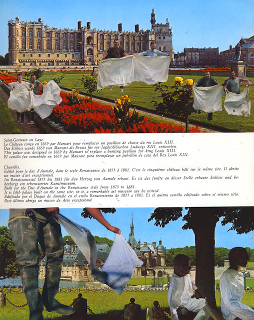 Collage from altered guidebook, The Future Really is Up in the Air