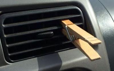 تعطير رائحة السيارة باستخدام ملقط (مشبك) الغسيل !!! laundry clip holder