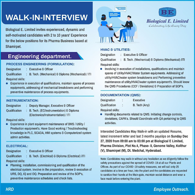 Biological E Limited Walk in Interviews for Multiple Positions on 27th Dec 2020