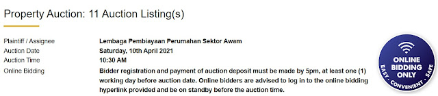 Senarai Rumah Yang Akan Dilelong Oleh LPPSA Pada 10 April 2021
