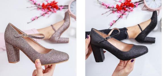 Pantofi din gliter cu toc mic de zi negri, roz frumosi