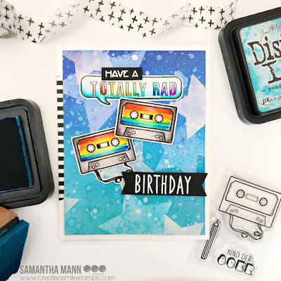 Have a Totally Rad Birthday Card by Samantha Mann for Create a Smile Stamps, 80s, Handmade Cards, Ink Blending, Distress Inks, Birthday, Birthday Cards, Card Making #createasmile #createasmilestamps #80s #inkblending #distressinks #stencil