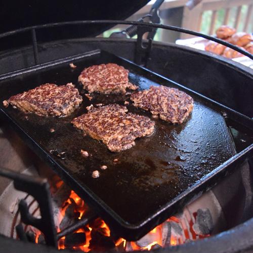 Oostburger Pretzel Sliders cooking on the Big Green Egg