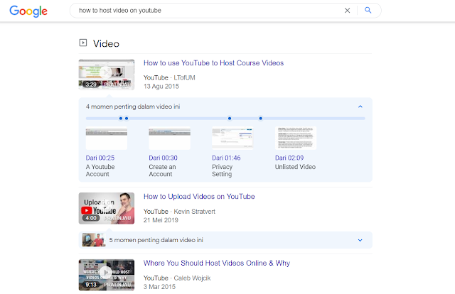 Contoh tampilan video featured snippets google by leafcoder.org