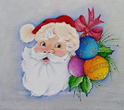pintura em tecido  papai noel com bolas natalinas, folhas e laço vermelho