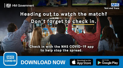Check in if you are heading off to the match - rear view of people cheering in a pub