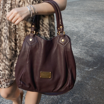 animal print dress and Marc By Marc Jacobs Classic Q Fran bag with gold hardware in carob brown | away from the blue
