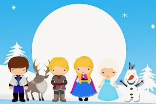 Para hacer invitaciones, tarjetas, marcos de fotos o etiquetas, para imprimir gratis de Frozen Bebé.