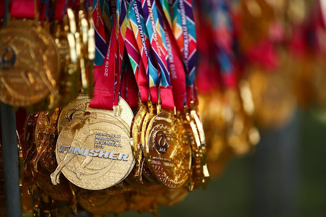 Finisher medals Honolulu Marathon in Hawaii