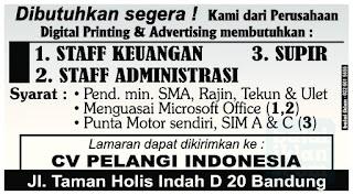 Loker Staff & Driver di CV Pelangi Indonesia