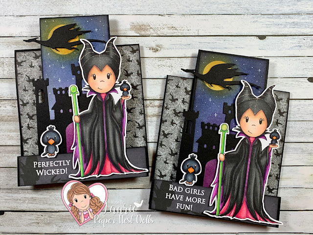 Centre-Step Card with Evil Fairy by Paper Nest Dolls