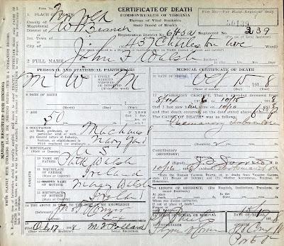 John Fleming Walsh death certificate https://jollettetc.blogspot.com
