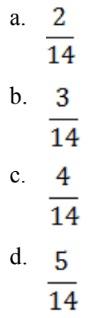 pilihan jawaban lambang pecahan 14 dibagi