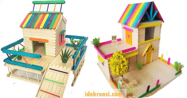 Kerajinan Tangan Dari Stik Es Krim Miniatur Rumah Ide Kreasi