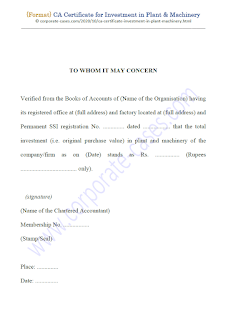 ca certificate format for investment in plant & machinery