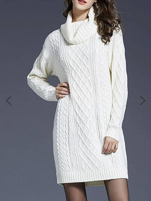 Cowl Neck Shift Sweater Dress