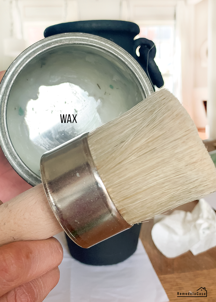 applying clear wax to protect and give sheen to your project