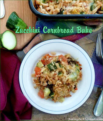 Zucchini Cornbread Bake can compliment any meal as a side dish but is also hearty enough to be the main dish. Chop, mix and bake, it's that easy. | Recipe developed by www.BakingInATornado.com | #recipe #dinner