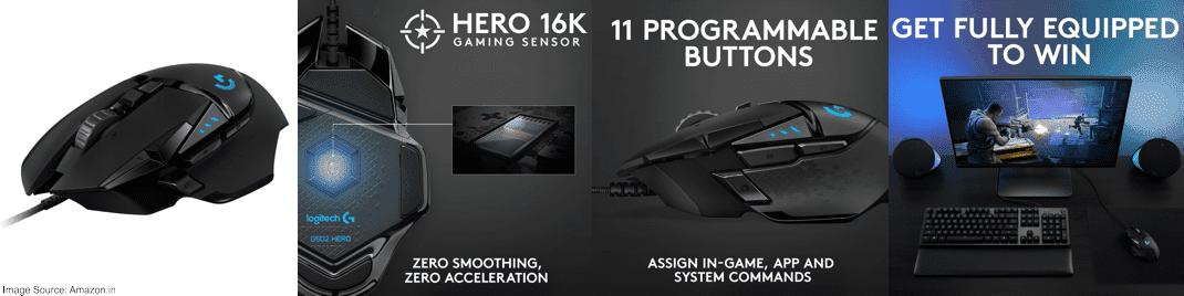 Logitech G502 Hero Gaming Mouse (16000 DPI)