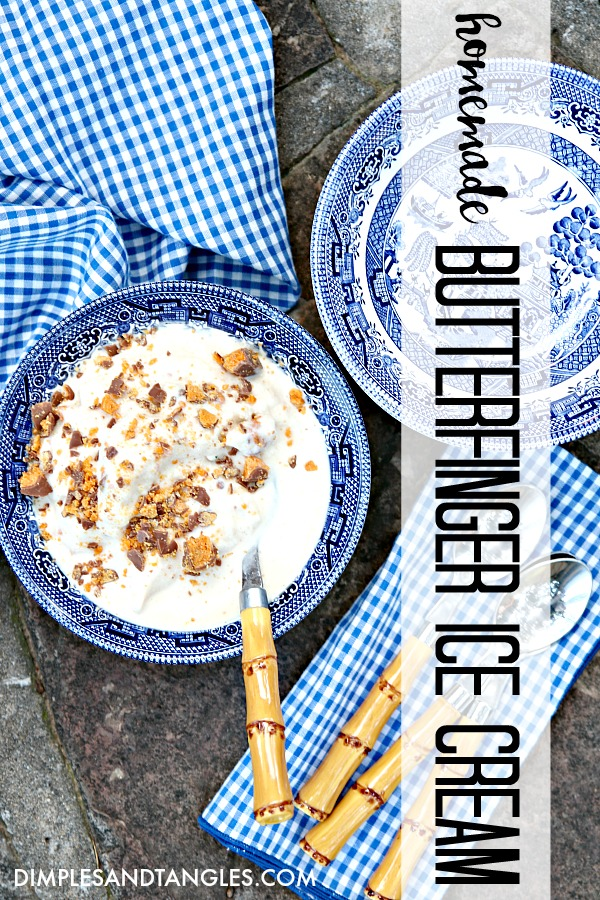 homemade ice cream, dessert, summer recipe, butterfinger candy bar
