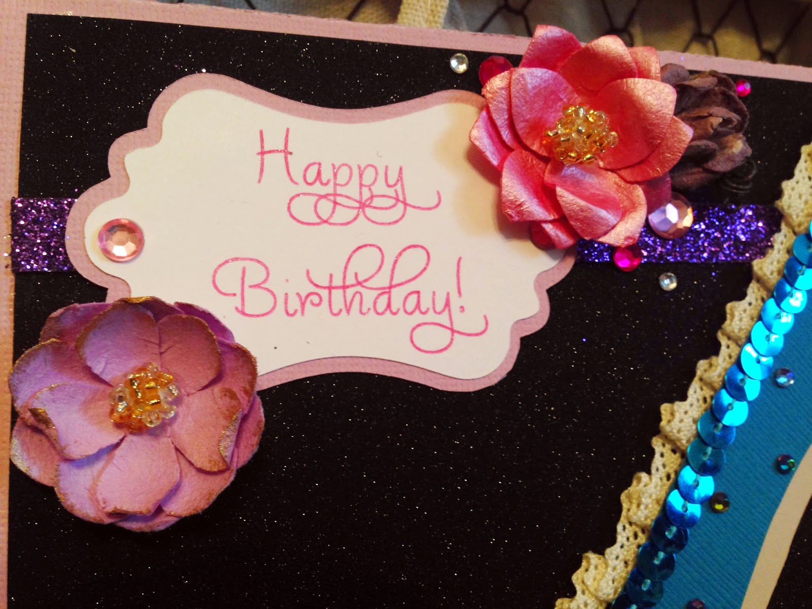 birthday, card, handmade, card making, paper crafting, style, fashion, high heel, high heel card, flowers, sequins, gems, jewels, bling, lace