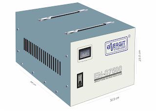 Medidas de estabilizador solido de 7500W 7.5 kW / 10 kVA - 220vac - Marca Energit