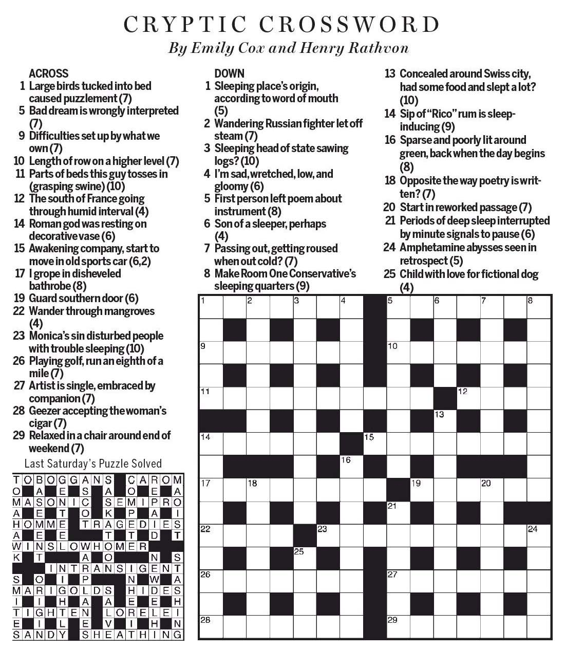 National Post Cryptic Crossword Forum Saturday April 8 2017 Catching Some Zs