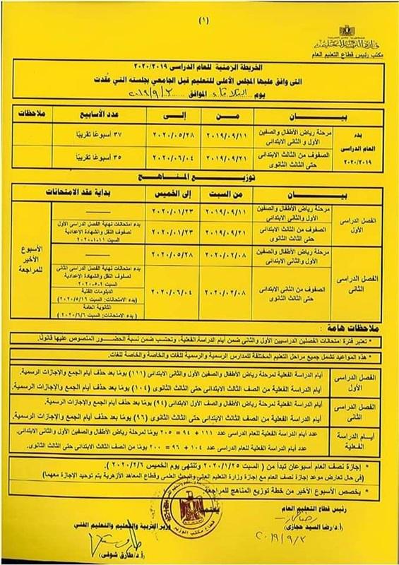 الخطة الزمنية للعام الدراسى 2020 فى جمهورية مصر العربية Time Plan