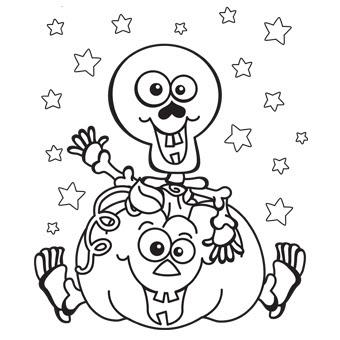 череп на тыкве раскраска.skull on a pumpkin coloring page