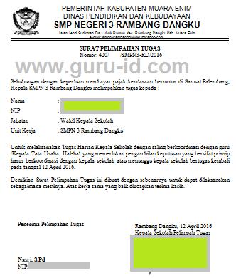 gambar Format Surat Pelimpahan Tugas Kepala Sekolah ke Wakil Kepala Sekolah